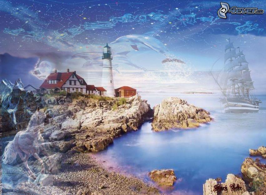 cartoon lighthouse, sailing boat, coast