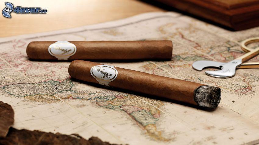 cigars, world map