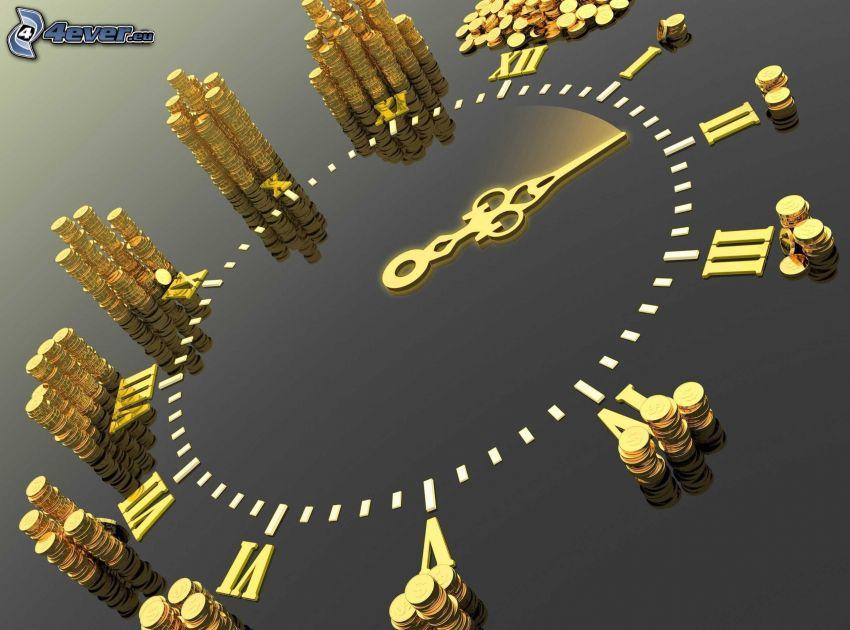 clock, coins
