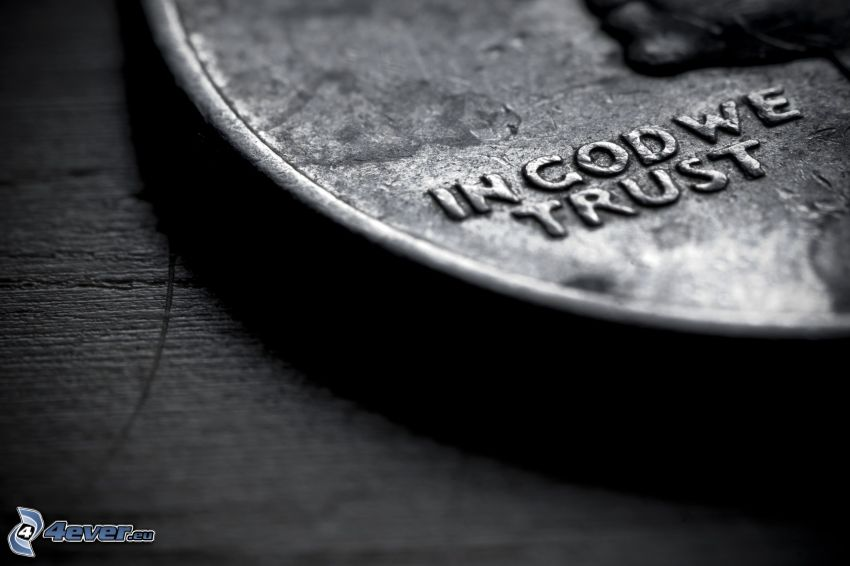 coin, black and white photo