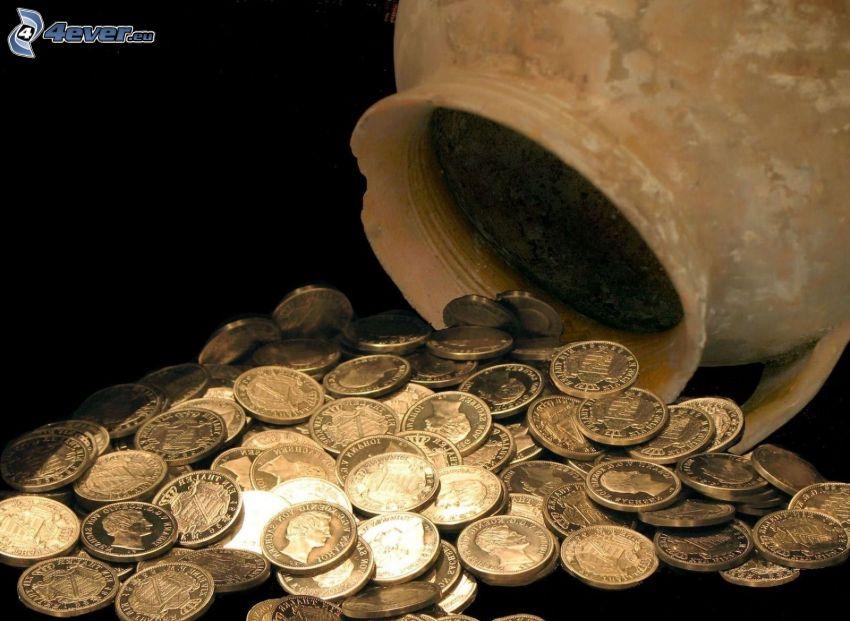 coins, pitcher