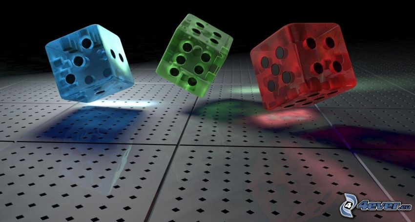 colored cubes, dices