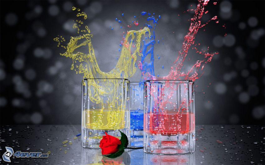 colors, glasses, rose