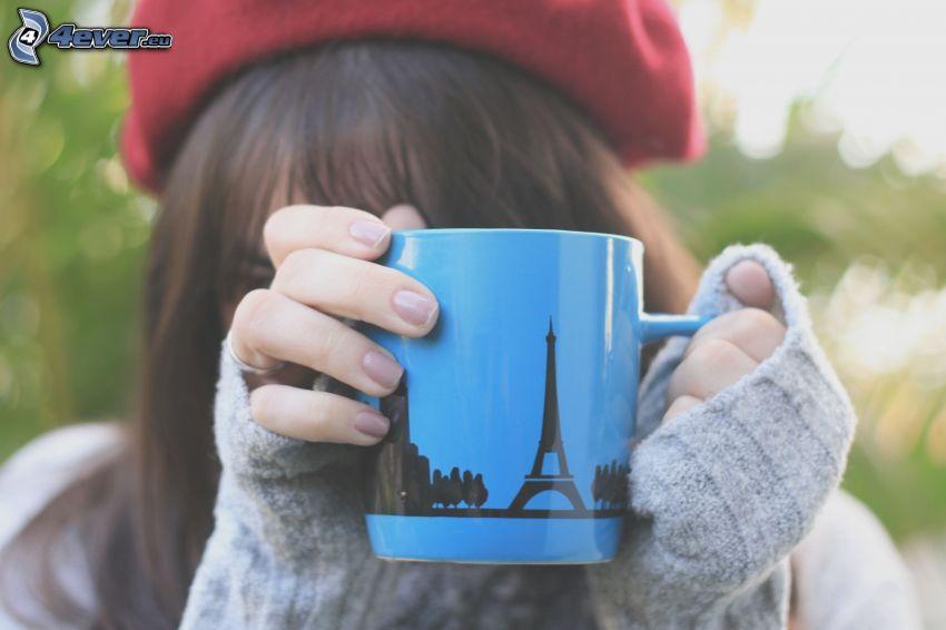 cup, Eiffel Tower, girl