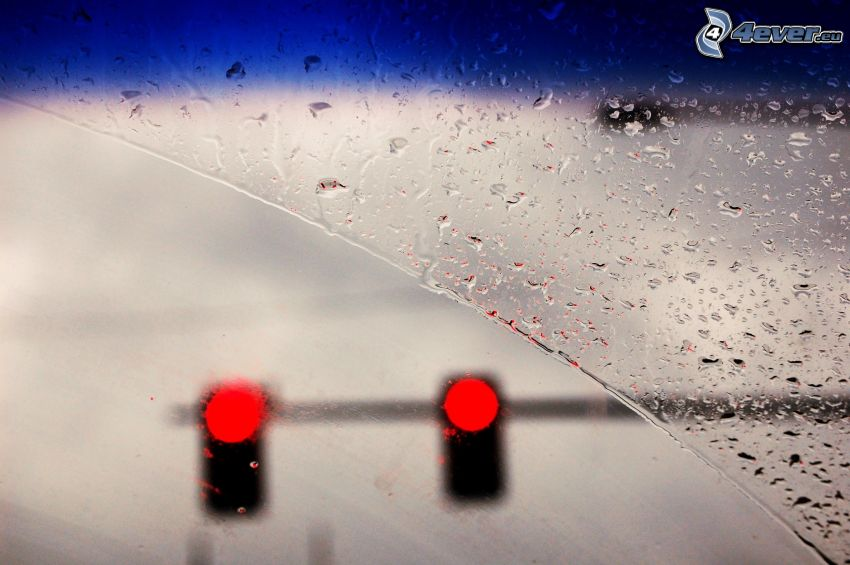 dewy glass, traffic lights