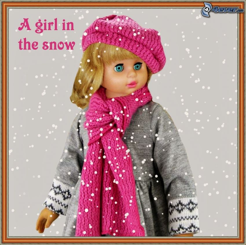 doll, scarf, hat, snowfall, picture