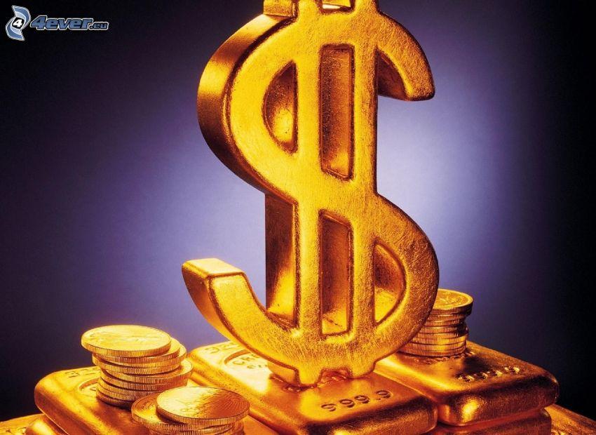 dollar, gold, gold bars