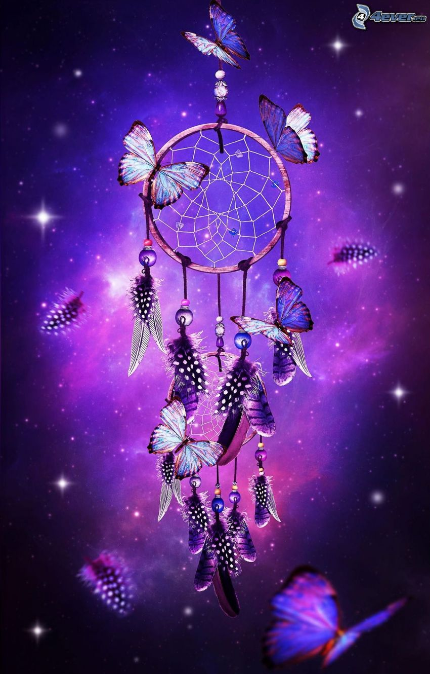 dream catcher, butterflies, purple background