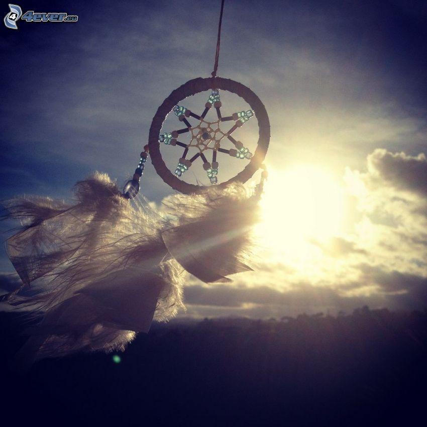 dream catcher, sun, sunbeams, feathers, clouds