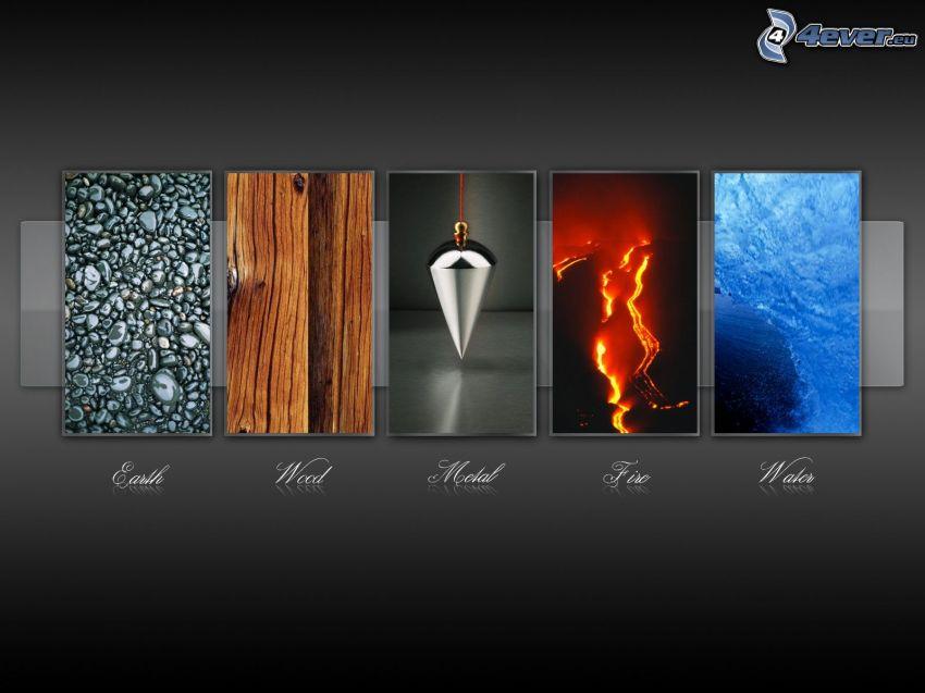 elements, wood, iron