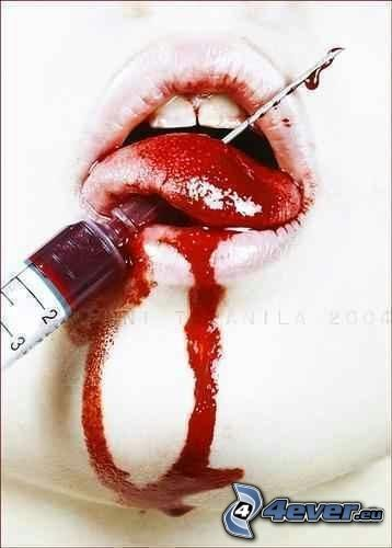 emo, mouth, tongue, syringe