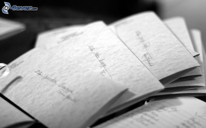 envelopes, black and white photo