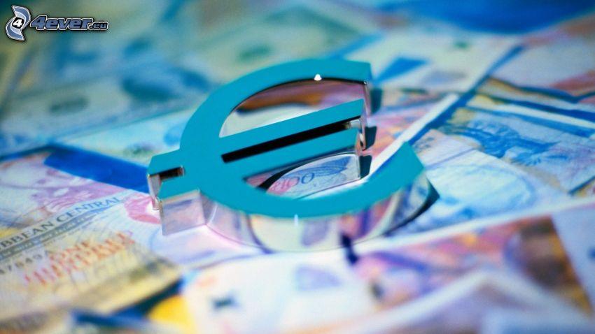 euro, 3D, bank notes