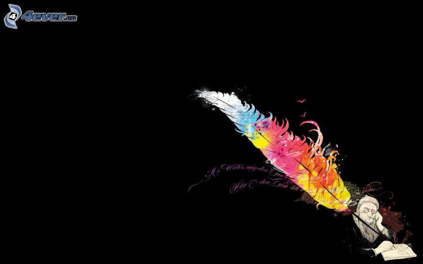 feather, pen, man