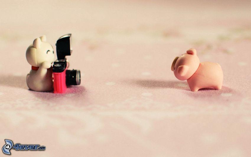 figures, cat, pig, camera