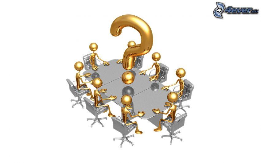 figures, question mark, meeting room