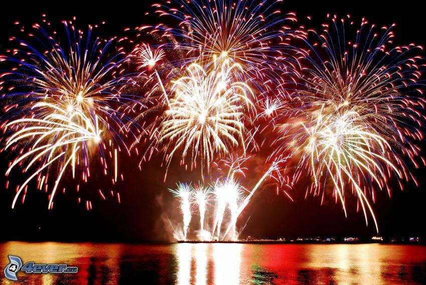 fireworks, lake