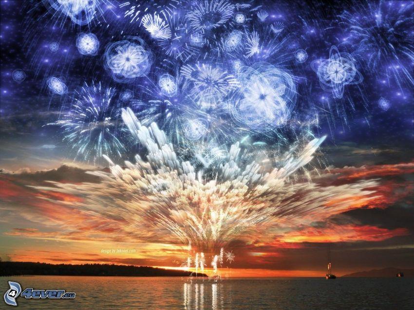 fireworks, sea