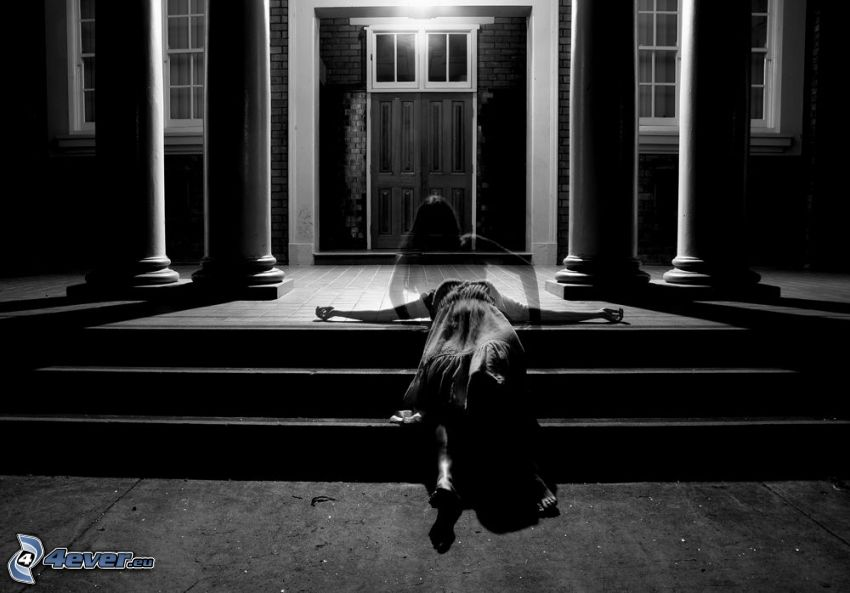 ghost, girl, stairs, door, house