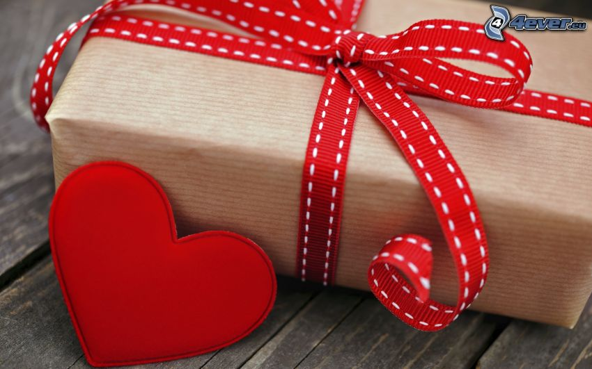 gift, ribbon, red heart