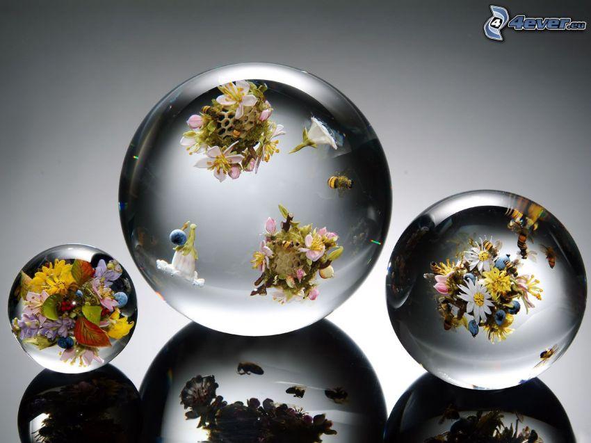 glass balls, flowers