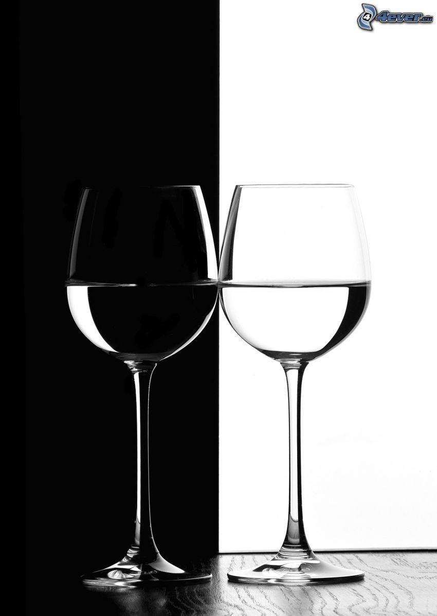 glasses, black and white