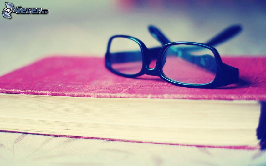 glasses, book