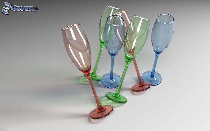 glasses, colored, glass