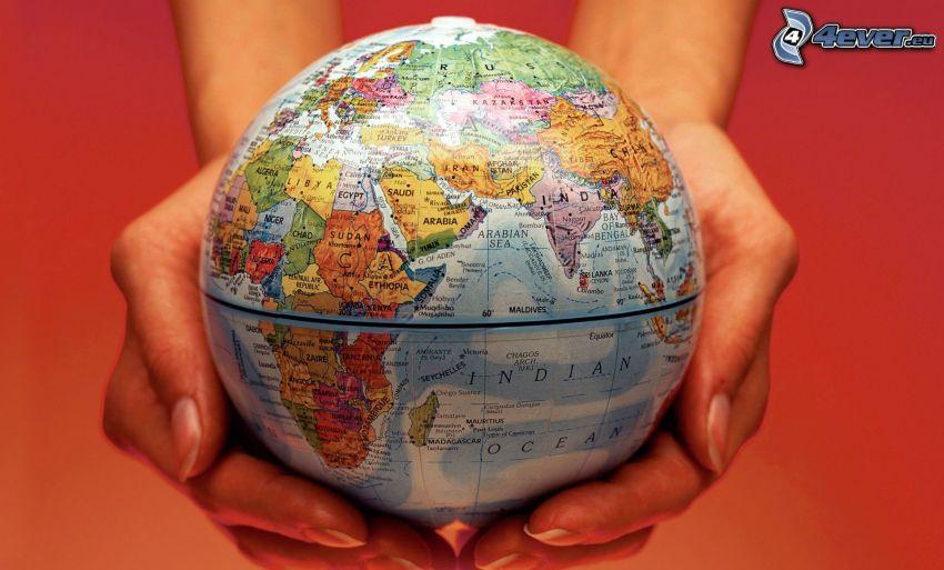 globe, hands