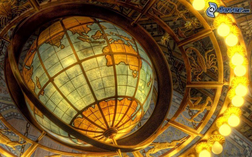 globe, zodiac, lights