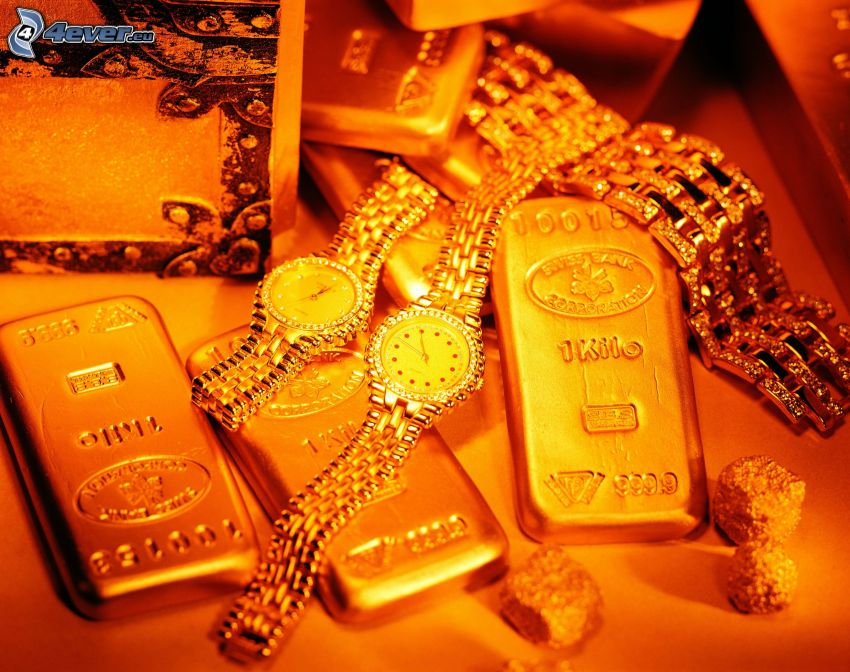 gold, watch, jewelry, gold bars