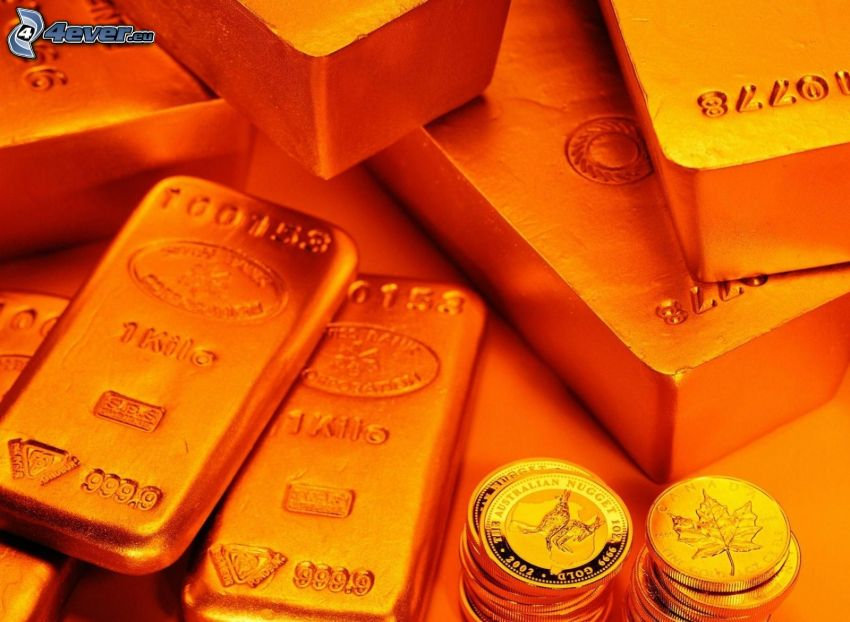 gold bars, coins