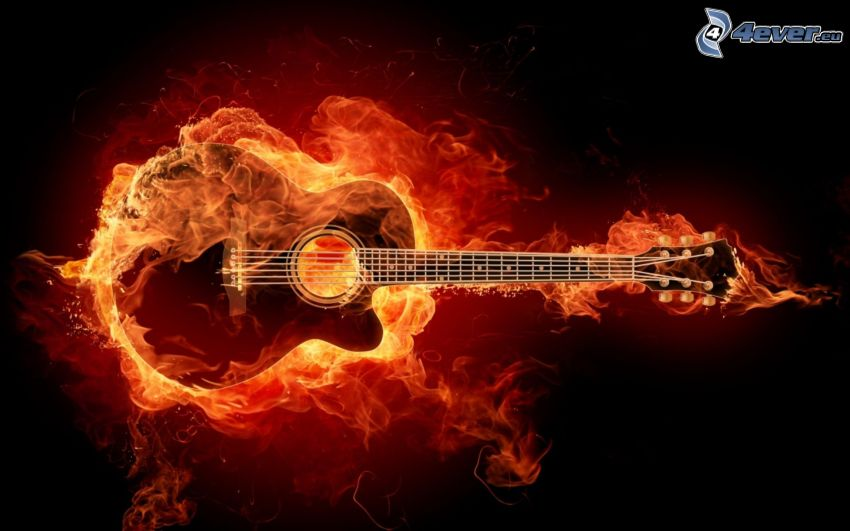 guitar, fire, flames