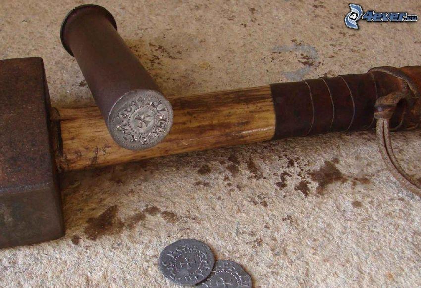 hammer, coins