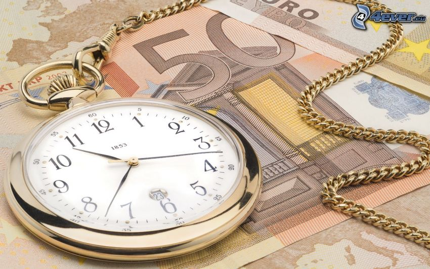 historic clocks, 50 Euro, bank notes, money