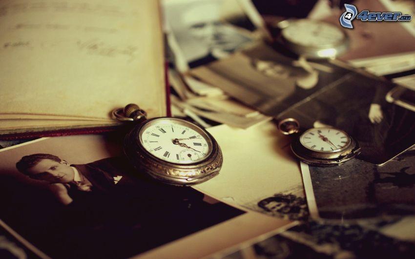 historic clocks, old photos