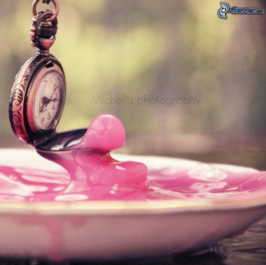 historic clocks, pendant, pink color