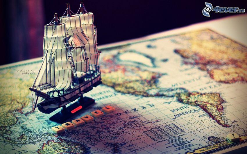 historical map, sailing boat, Scrabble