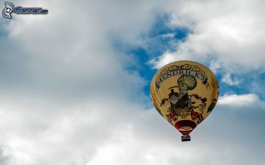 hot air balloon, clouds