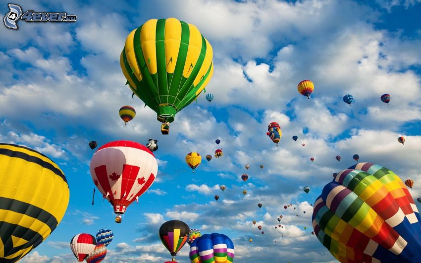 hot air balloons, colored, clouds