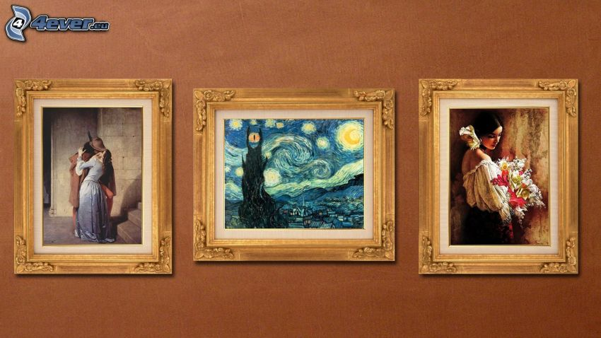 images, couple, Vincent Van Gogh - The Starry Night, woman