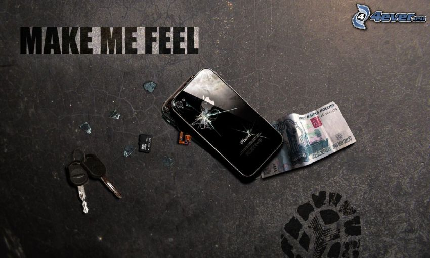 iPhone, crack, banknote, keys, footprint