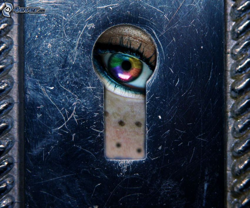 keyhole, colored eye