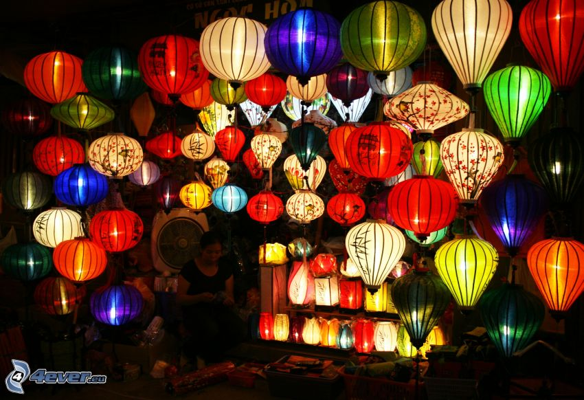 lanterns, colored