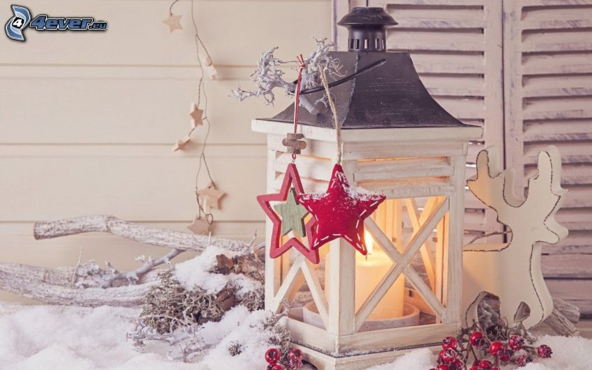 lanterns, stars, reindeer, twig, candle, snow