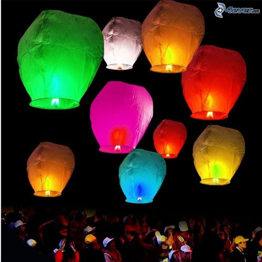 lanterns luck, colored