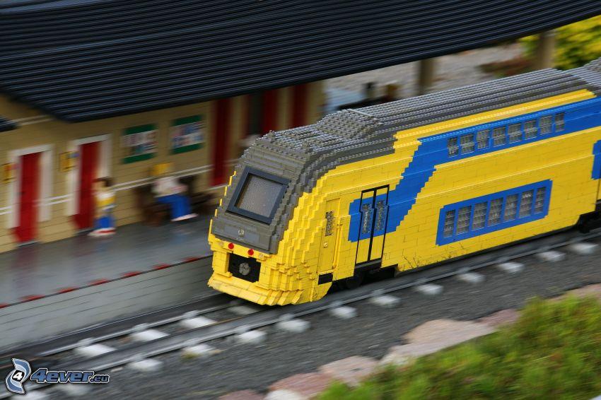 Lego, train, railway station