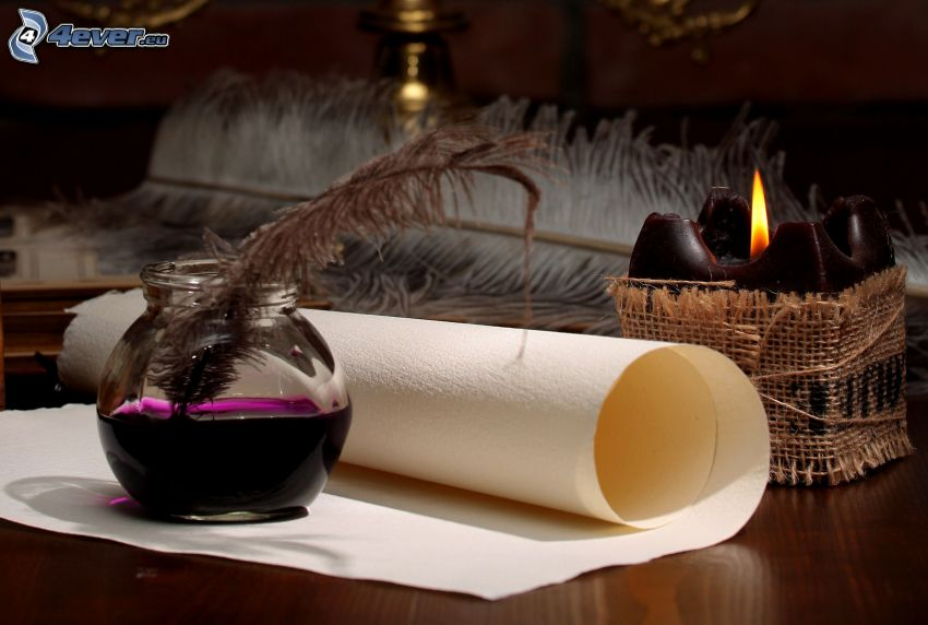 letter, feather, candle