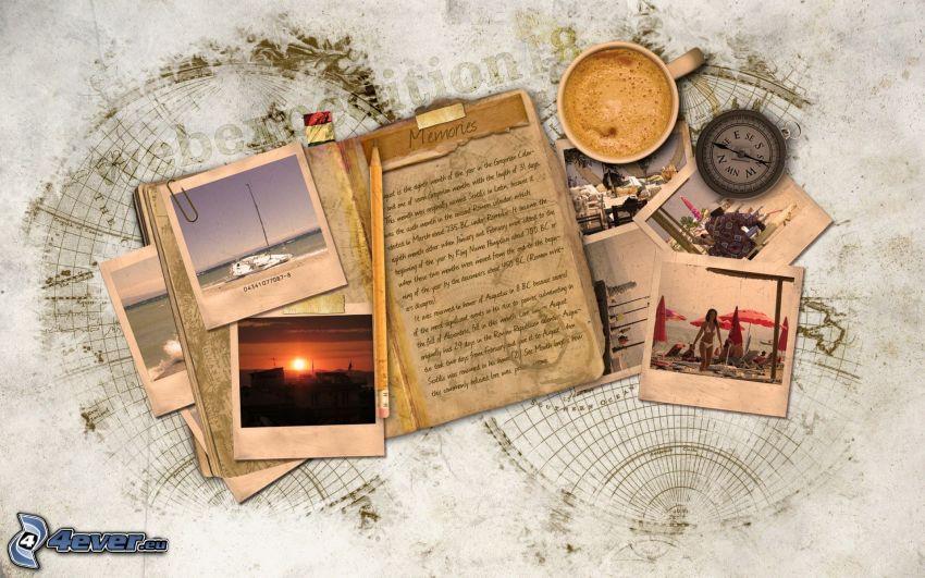 letter, photos, memories