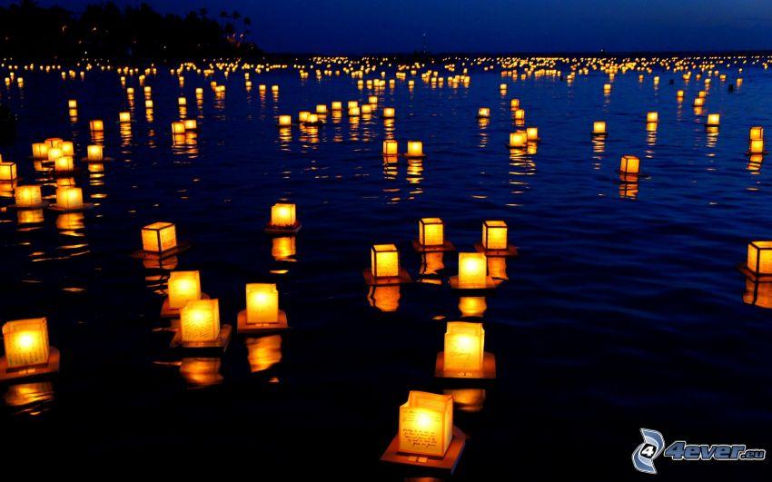 lights on water, night
